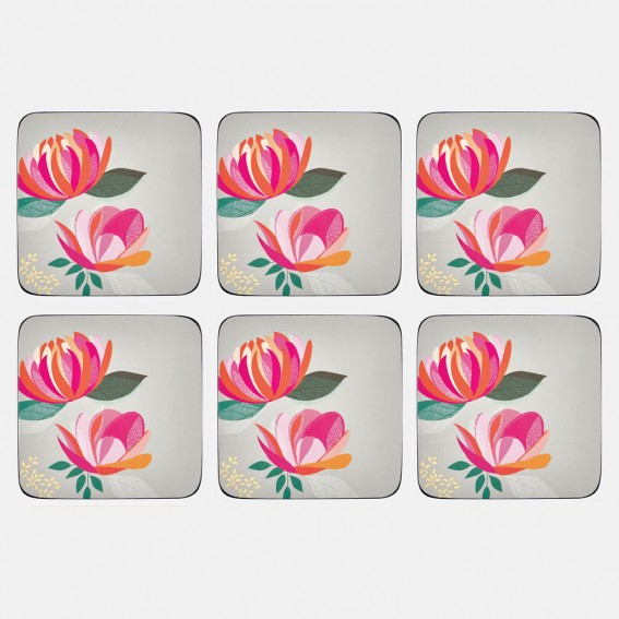 Grey Peony Coasters - Set of 6