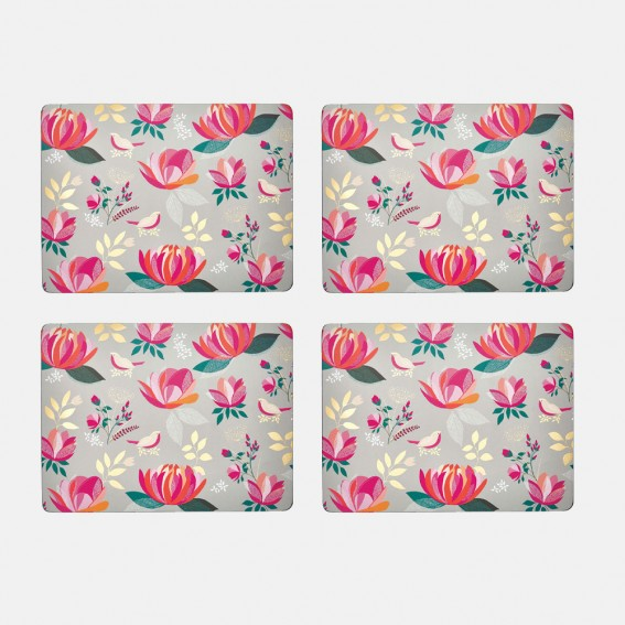 Grey Peony Placemats - Set of 4