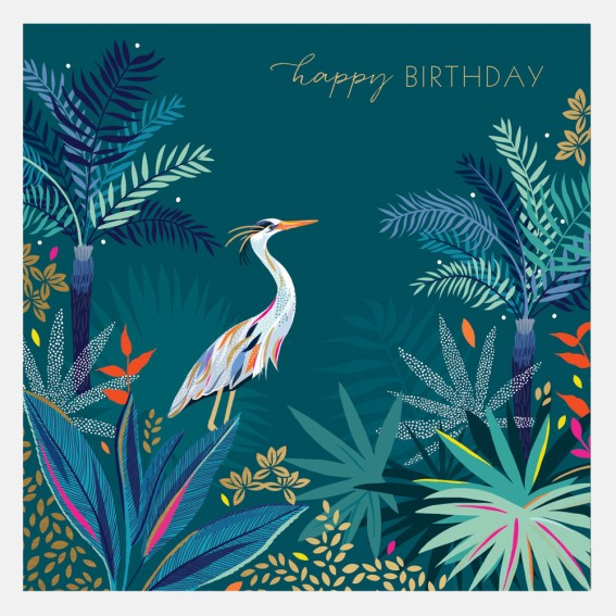 Heron Happy Birthday Card