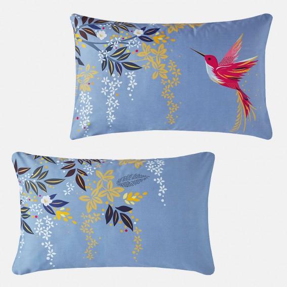 Light Blue Hummingbird Standard Pillowcase Pair
