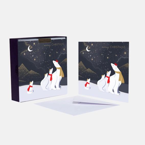 Luxury Polar Bears Christmas Cards - Box of 8