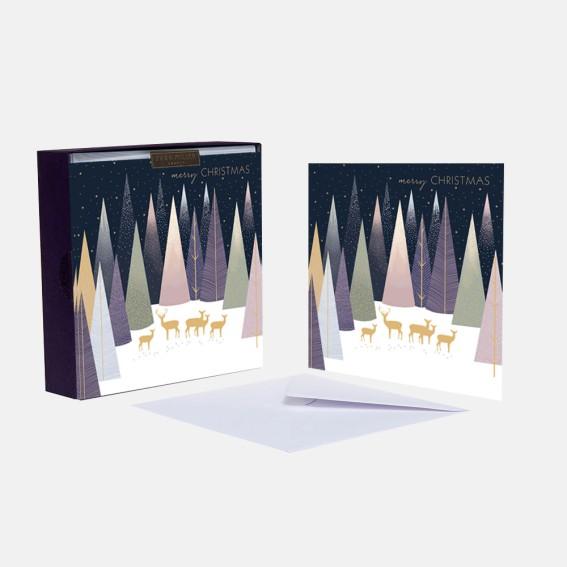 Luxury Deer in Woods Christmas Cards - Box of 8