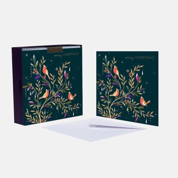 Luxury Three Robins Christmas Cards - Box of 8