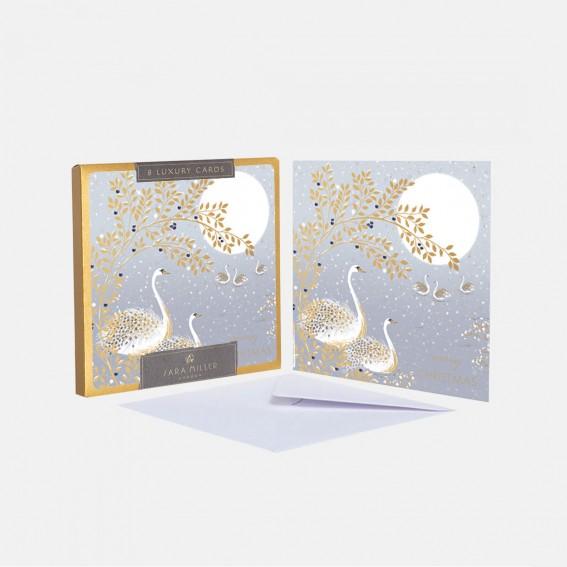 Luxury Snow Swans Christmas Cards - Box of 8
