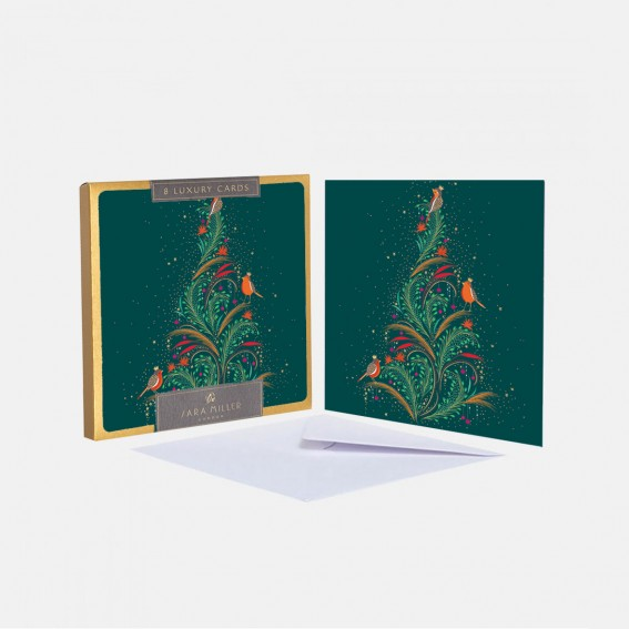 Luxury Christmas Tree Robins Christmas Cards - Box of 8