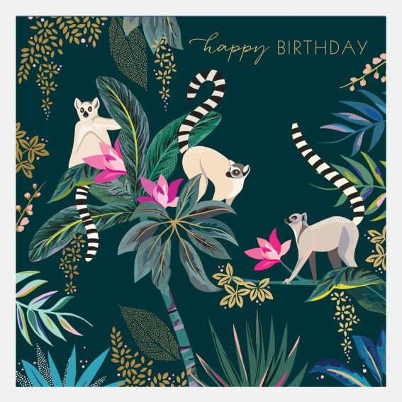 Lemur Happy Birthday Card