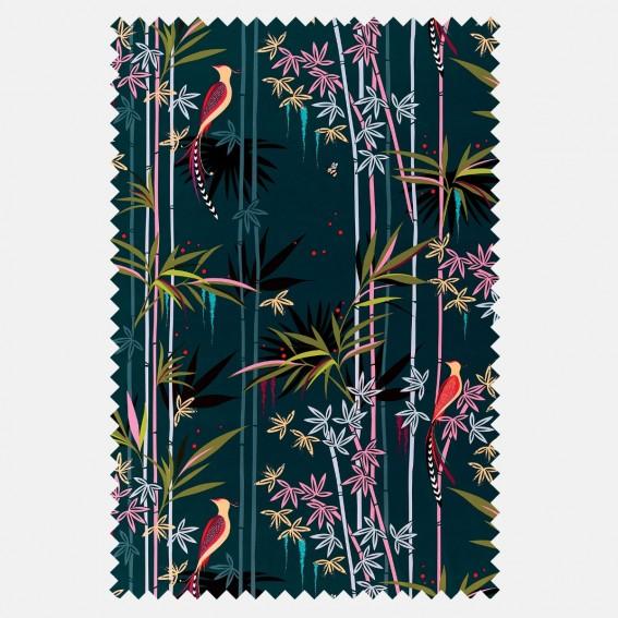 Linear Bamboo Dark Green Velvet Fabric SAMPLE