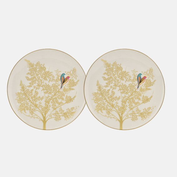 Pale Grey Lovebird Cake Plates - Set of 2