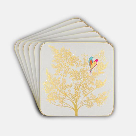 Pale Grey Lovebird Coasters - Set of 6