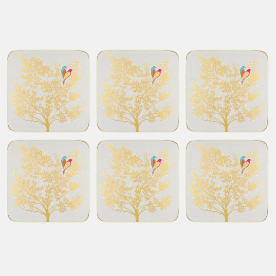 Pale Grey Lovebirds Coasters - Set of 6