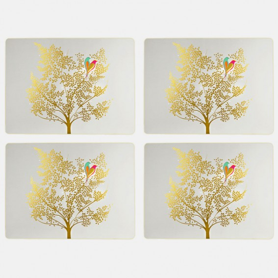 Pale Grey Lovebirds Large Placemats - Set of 4