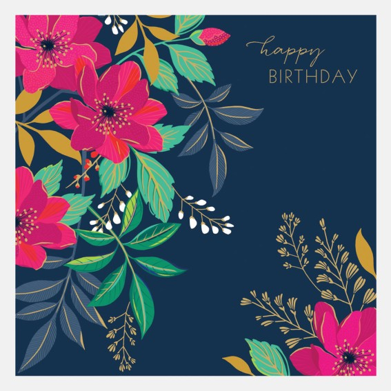 Navy Floral Happy Birthday Card