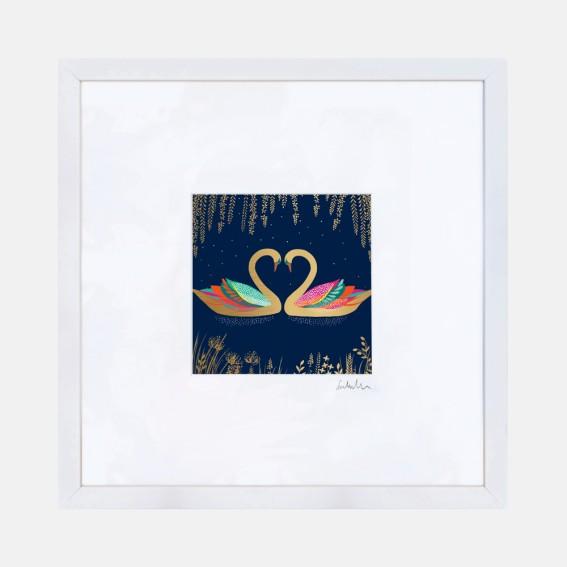 Navy Heart Swans Wall Art