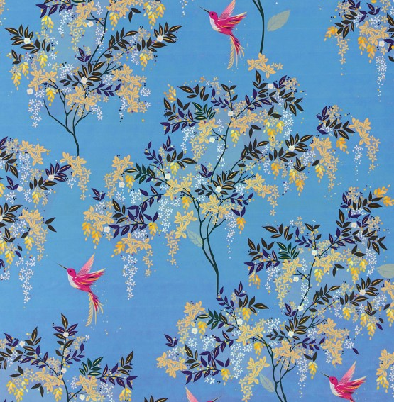 Hummingbird Cornflower Blue Velvet Fabric