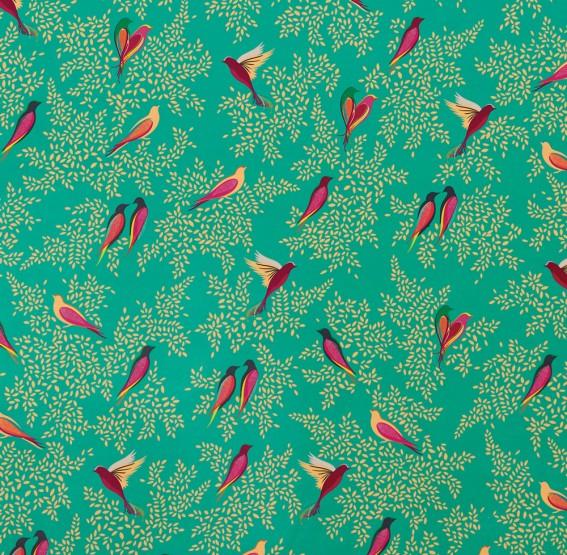Green Birds Velvet Fabric