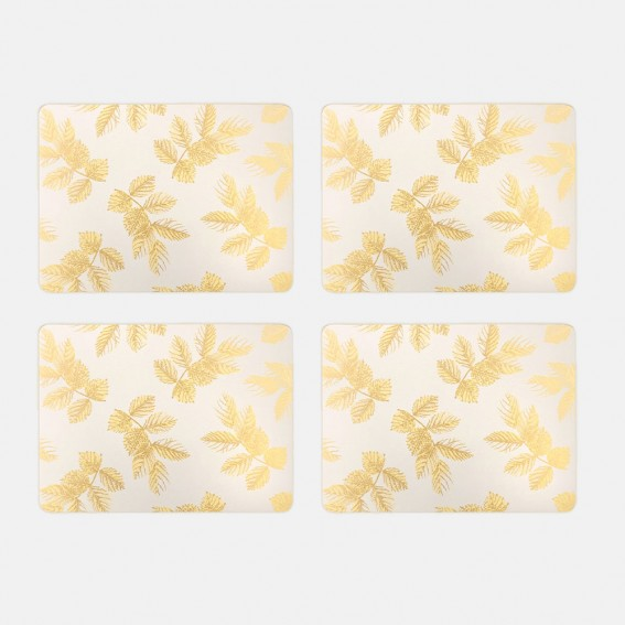 Pale Grey Etched Leaves Placemats - Set of 4