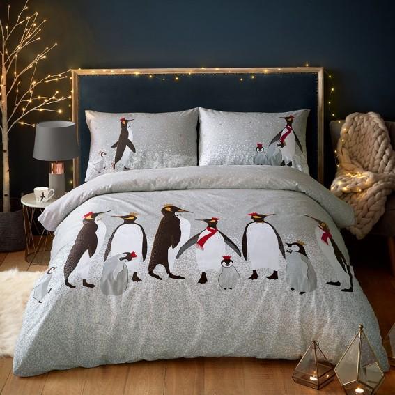 Christmas Penguin King Duvet Cover and Pillowcase Set