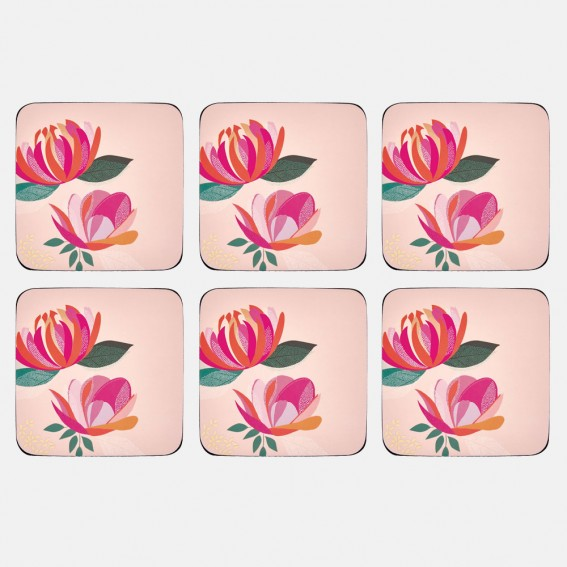 Pink Peony Coasters - Set of 6