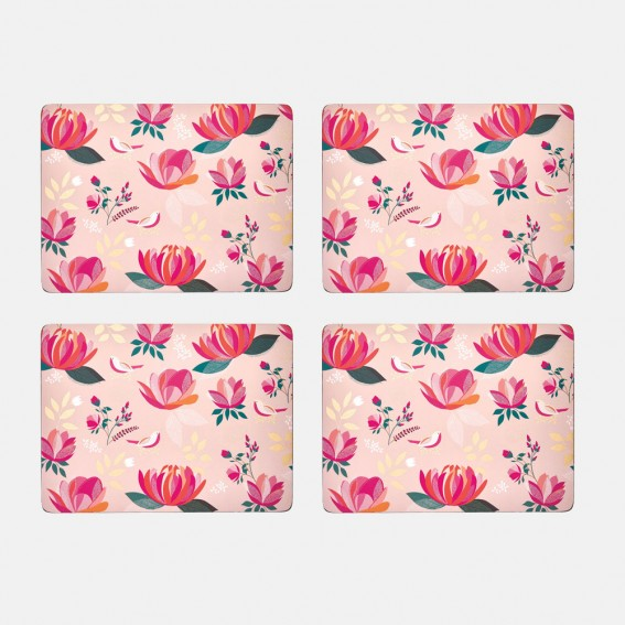 Pink Peony Placemats - Set of 4