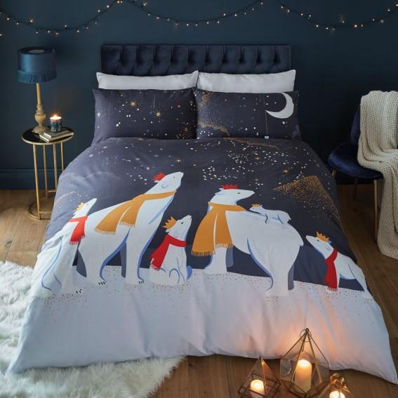 Christmas Polar Bear Single Duvet Cover & Pillowcase Set