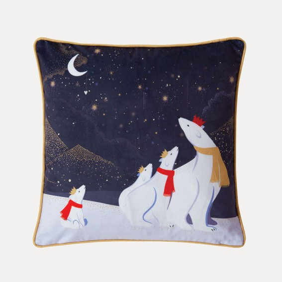 Polar Bear Family Feather Filled Cushion