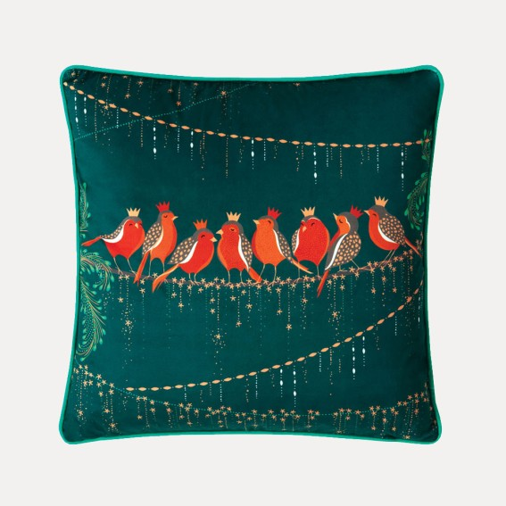 Row of Robins Feather Filled Cushion