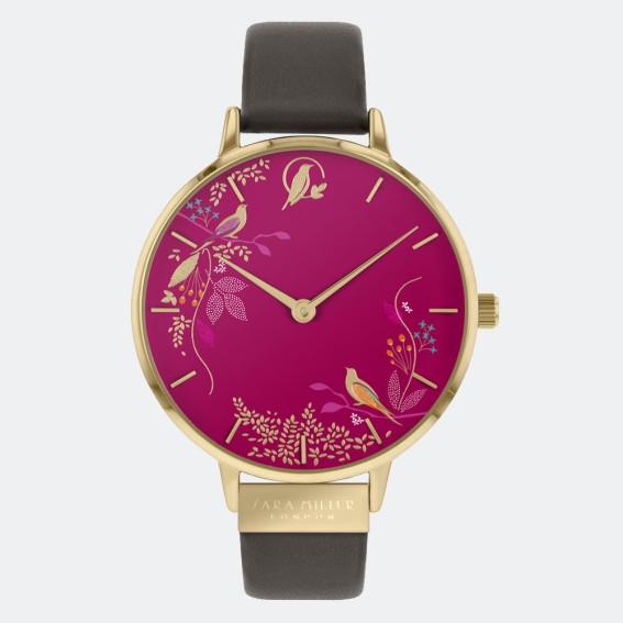 Pink Birds Brown Watch