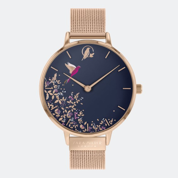 Navy Hummingbird Gold Mesh Watch