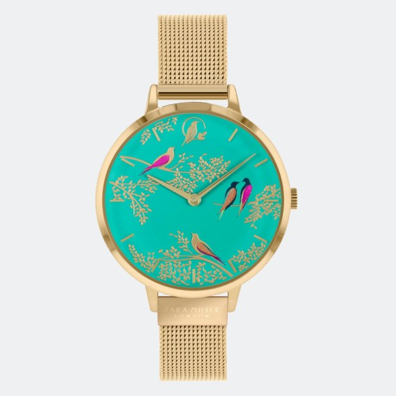 Green Birds Gold Mesh Watch