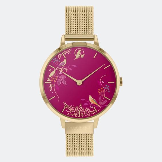 Pink Birds Gold Mesh Watch