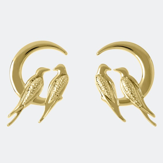Lovebird Gold Stud Earrings