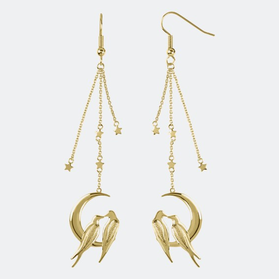 Lovebird Gold Drop Earrings