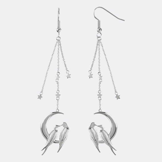 Lovebird Silver Drop Earrings