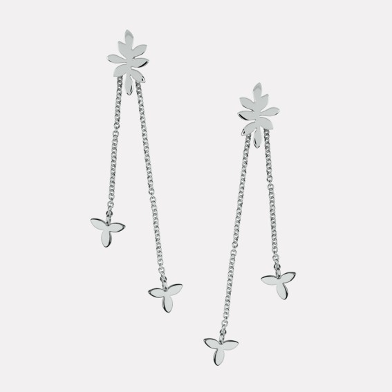 Falling Leaf Silver Drop Earrings
