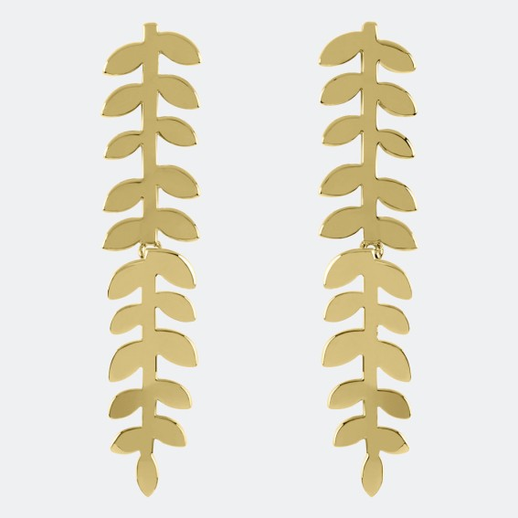 Trailing Leaf Gold Drop Earrings