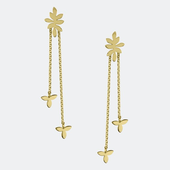 Falling Leaf Gold Drop Earrings