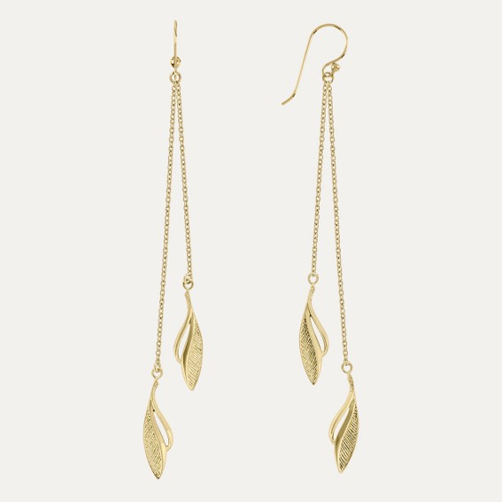 Etched Leaf Gold Drop Earrings