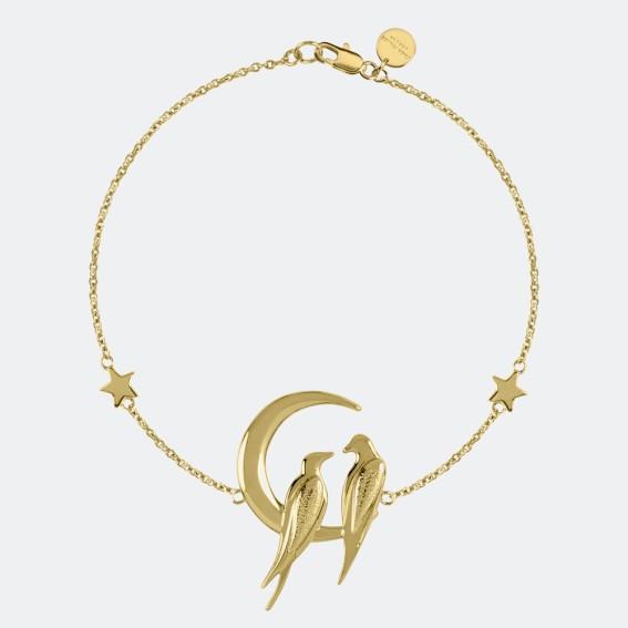 Lovebird Gold Charm Bracelet