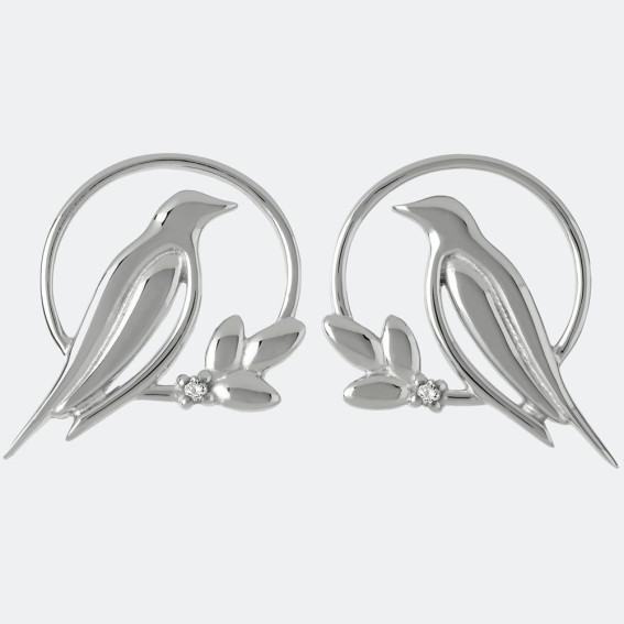 Diamond Bird Silver Stud Earrings