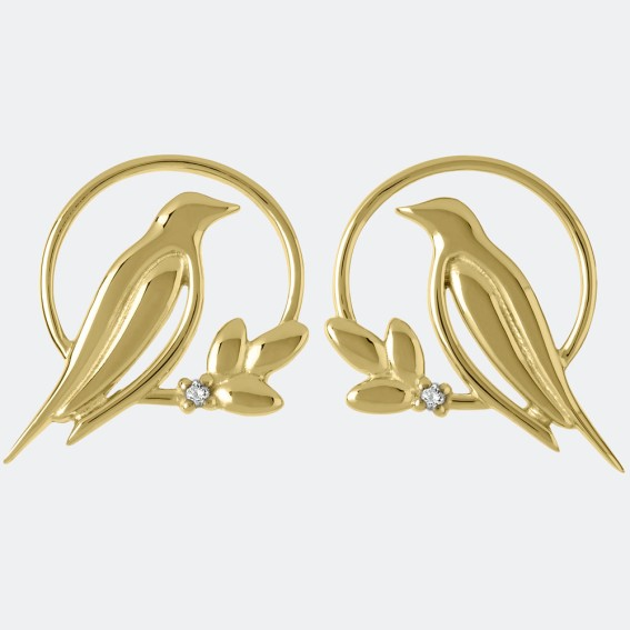 Diamond Bird Gold Stud Earrings