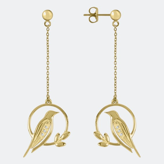 Diamond Bird Gold Drop Earrings