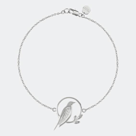 Bird Charm Silver Bracelet