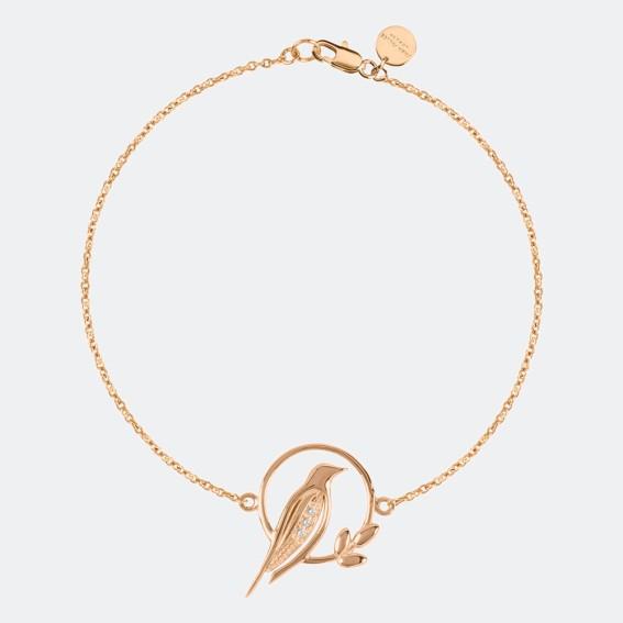 rose gold charm bracelet, rose gold bracelet, bird bracelet, bird charm bracelet, rose gold plated, diamond, diamond bracelet, diamond charm bracelet, 18 carat rose gold,