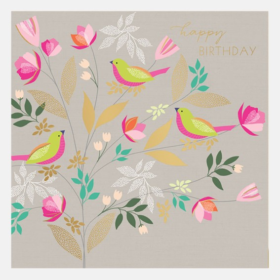 Happy Birthday Three Birds Card