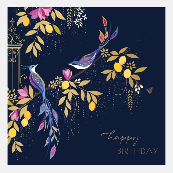 Orchard Navy Birds Birthday Card