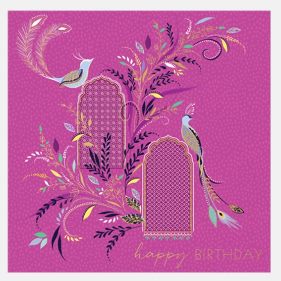 Pink Songbirds On Archway Card