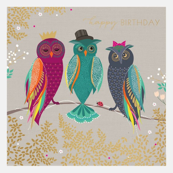 Happy Birthday Owls Card