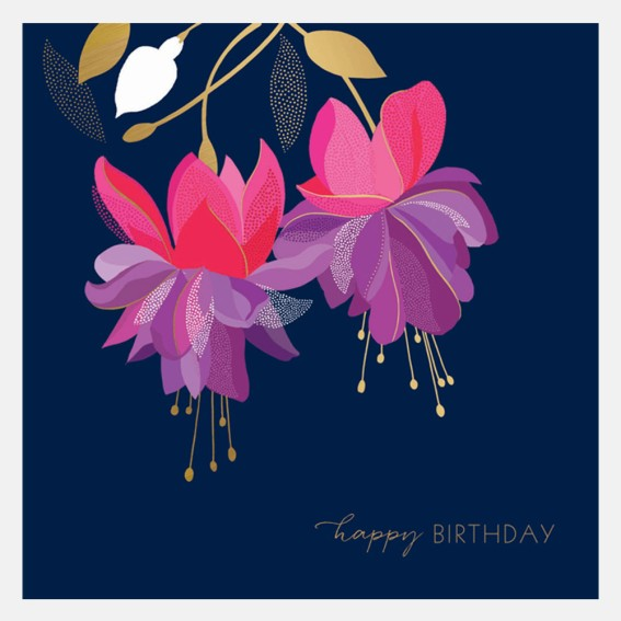 Happy Birthday Fuchsia Card