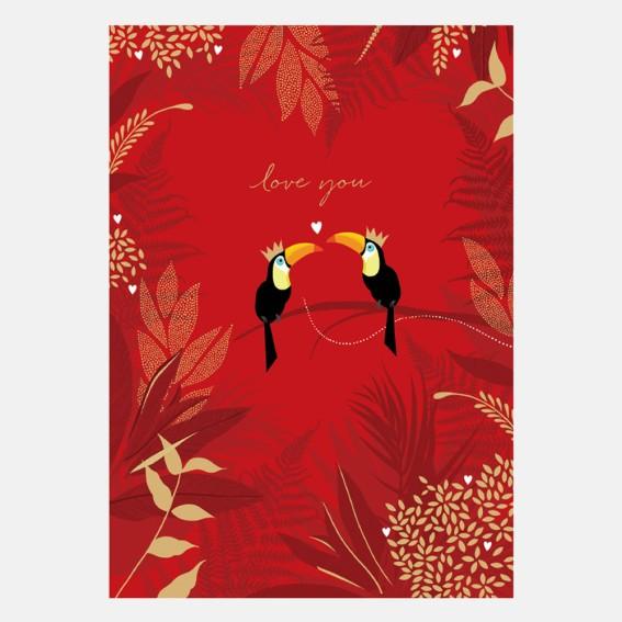 Toucan Love Kiss Valentine Card
