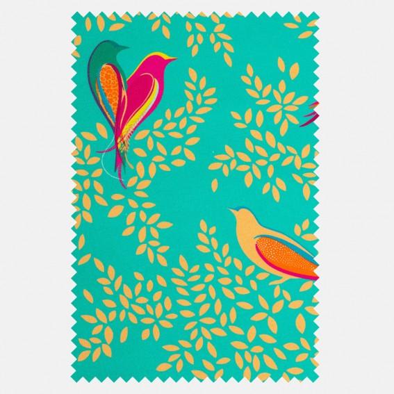 Green Birds Velvet Fabric SAMPLE